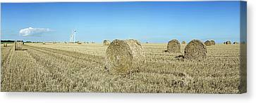 Hay Bales In A Field, Veules-les-roses Canvas Print by Panoramic Images