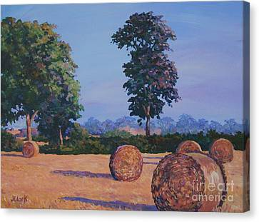 Haybale Canvas Print - Hay-bales In Evening Light by John Clark