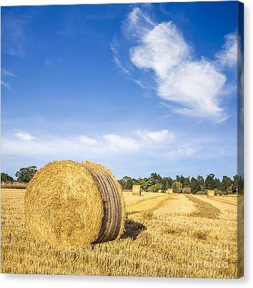 Hay Bales Under Deep Blue Summer Sky Canvas Print