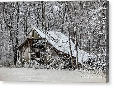 Canvas Print featuring the photograph Hay Barn In Snow by Debbie Green