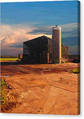 Canvas Print featuring the painting Hay Barn In Vijfhuizen by Nop Briex