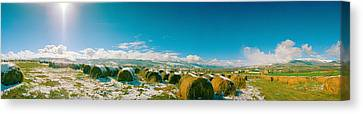 Bales Canvas Print - Hay Field In Snow, Andorra by Panoramic Images