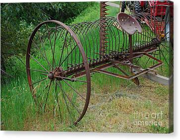 Canvas Print featuring the photograph Hay Rake by Ron Roberts