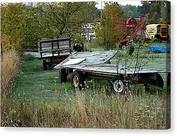 Hay Wagons Canvas Print by Joseph Yarbrough