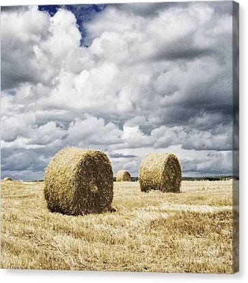 Haybales In A Field In England Uk Canvas Print by Jon Boyes