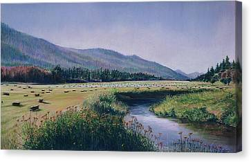 Hayfield And River Canvas Print