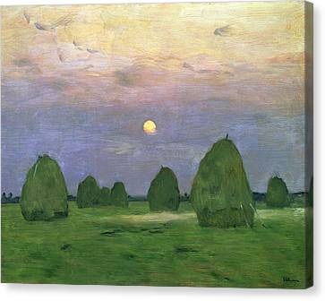 Hayricks At Dusk Canvas Print