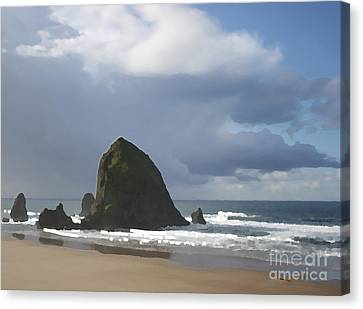 Canvas Print featuring the photograph Haystack Rock by Jeanette French