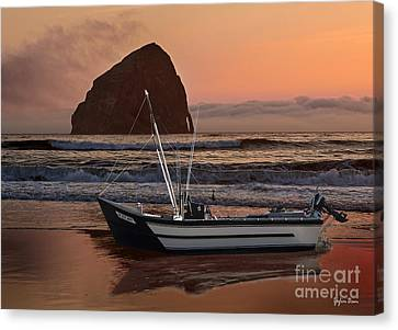 Sunset At Cape Kiwanda With Dory Boat Canvas Print