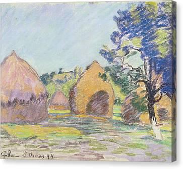 Meules Canvas Print - Haystacks At Saint Cheron by Jean Baptiste Armand Guillaumin