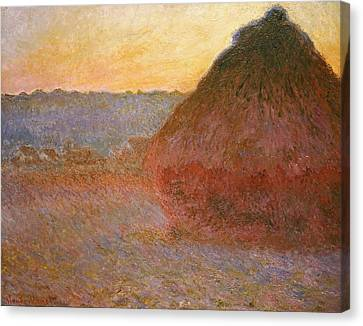 Haystacks, Pink And Blue Impressions Canvas Print