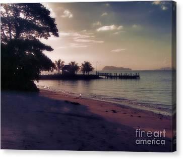 Hazey Samoan Sunset Canvas Print by Karen Lewis