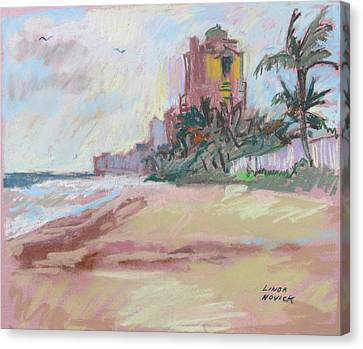 Canvas Print featuring the painting Hazy Beach by Linda Novick