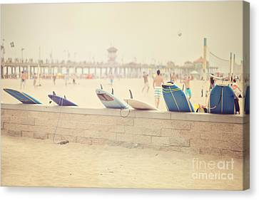 Hazy Day At The Beach Canvas Print by Susan Gary