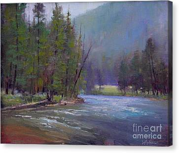Hazy Day On The Gallatin  Canvas Print