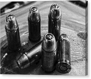 Bullet Art Hdr 32 Caliber Bullet Art 1 Bw Canvas Print by Lesa Fine
