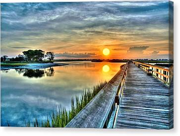 Hdr Boardwalk Sunrise Canvas Print by Ed Roberts