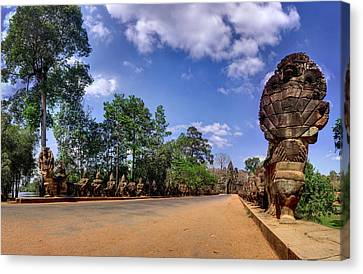 Canvas Print featuring the photograph Hdr - Hi-res - Ancient Asia Civilization Monuments In Angkor Wat Cambodia by Afrison Ma