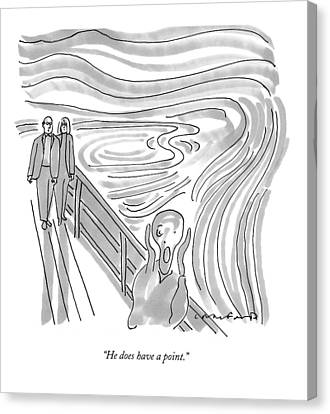 He Does Have A Point Canvas Print by Michael Crawford