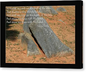 He Hideth Me In The Cleft Fanny Crosby Hymn Canvas Print by Denise Beverly