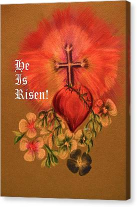 He Is Risen Greeting Card Canvas Print by Maria Urso