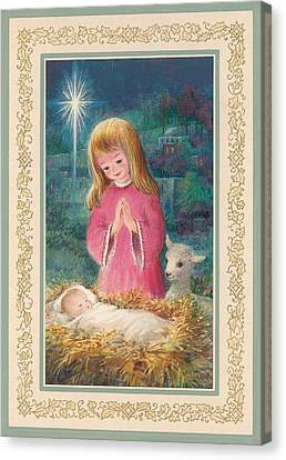 He Lay In A Manger Gouache Canvas Print by Stanley Cooke