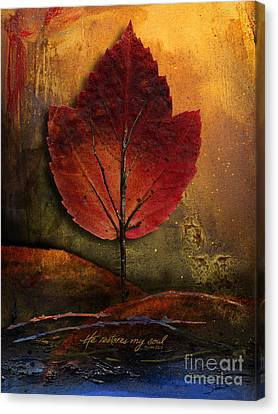 Canvas Print featuring the mixed media He Restores My Soul by Shevon Johnson