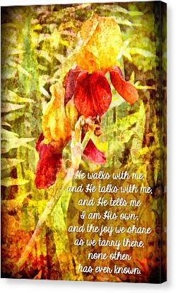 He Walks With Me Canvas Print - He Walks With Me by Michelle Greene Wheeler