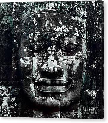 Angkor Thom Canvas Print - Head At Angkor Thom by Julian Cook