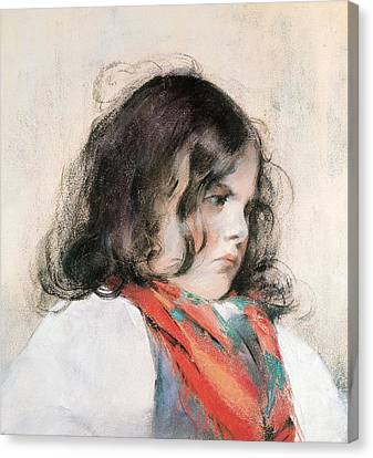 Head Of A Child  Canvas Print by Mary Stevenson Cassatt
