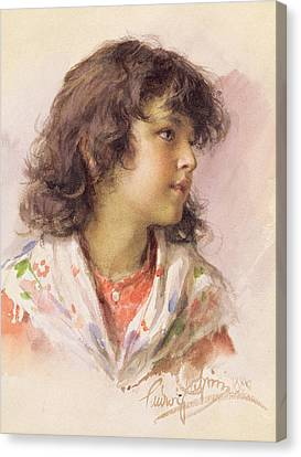 Youthful Canvas Print - Head Of A Girl by Ludwig Passini