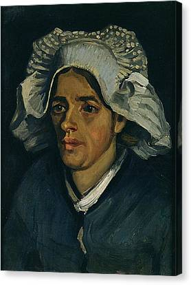 Head Of A Peasant Woman, 1885 Oil On Canvas Laid On Millboard Canvas Print by Vincent van Gogh