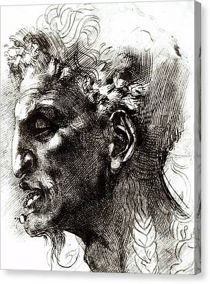 Head Of A Satyr  Canvas Print by Michelangelo