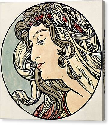 Head Of A Woman Canvas Print by Alphonse Marie Mucha
