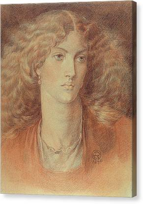 Head Of A Woman Called Ruth Herbert Canvas Print by Dante Charles Gabriel Rossetti