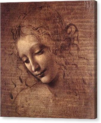 Head Of A Young Woman With Tousled Hair Canvas Print by Leonardo da Vinci