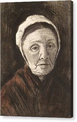 Head Of An Old Woman In A Scheveninger Canvas Print
