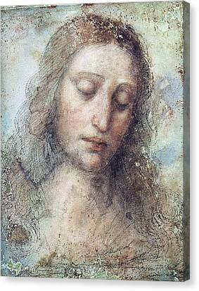 Canvas Print featuring the drawing Head Of Christ Restoration Art Work by Karon Melillo DeVega