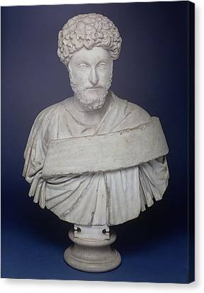 Head Of The Emperor Marcus Aurelius Canvas Print by Roman School