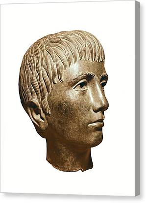 Head Of Young Boy. 3rd Bc. Etruscan Canvas Print