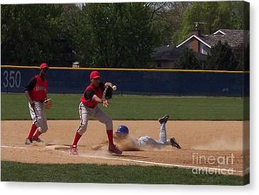 Head Slide In Baseball Canvas Print by Thomas Woolworth