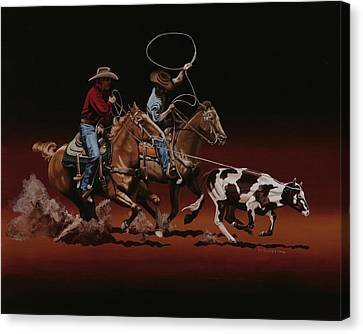 Cowboys Canvas Print - Headin And Heelin by Hugh Blanding