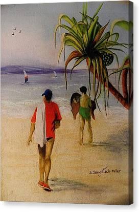 Heading For A Swim Canvas Print by Sandra Sengstock-Miller