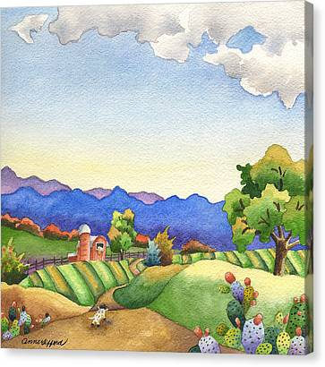 Heading For The Farm Canvas Print by Anne Gifford