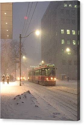 Heading Home In The Snowstorm Canvas Print