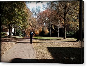 Heading To Class - Davidson College Canvas Print by Paulette B Wright