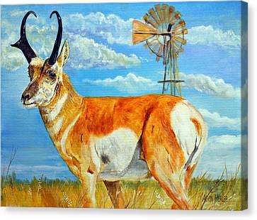 Pronghorn Antelope Canvas Print - Heading  To The Waterhole - Pronghorn Antelope by Alvin Hepler