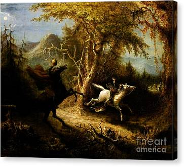 Headless Horseman Pursuing Ichabod Crane Canvas Print by Pg Reproductions