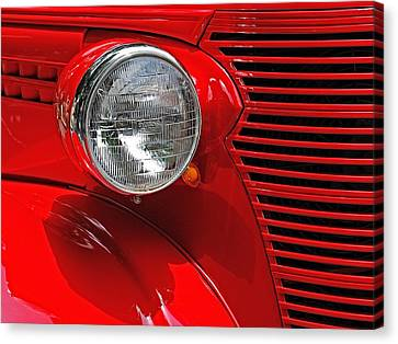 Canvas Print featuring the photograph Headlight On Red Car by Ludwig Keck