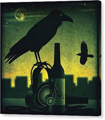 Headphone Raven Canvas Print by Milton Thompson